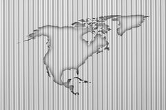 Kaart van Noord-Amerika op golfijzer Stock Afbeeldingen
