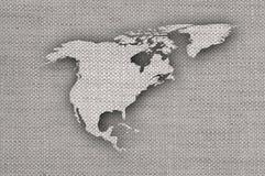 Kaart van Noord-Amerika op oud linnen Royalty-vrije Stock Afbeelding