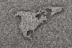 Kaart van Noord-Amerika op papaverzaden Stock Foto