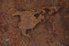Kaart van Noord-Amerika op roestig metaal Stock Afbeeldingen