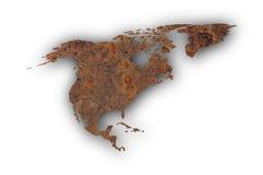 Kaart van Noord-Amerika op roestig metaal Royalty-vrije Stock Fotografie