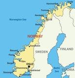 Kaart van Noorwegen - eps vector illustratie