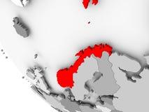 Kaart van Noorwegen in rood vector illustratie