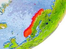 Kaart van Noorwegen ter wereld Stock Afbeeldingen