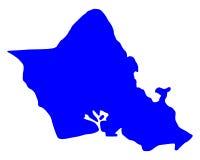 Kaart van Oahu stock illustratie