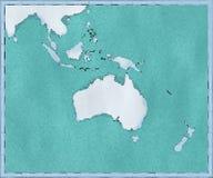 Kaart van Oceanië, getrokken geïllustreerde borstelslagen, geografische kaart, fysica Cartografie, geografische atlas royalty-vrije illustratie