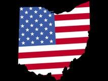 Kaart van Ohio met vlag Royalty-vrije Stock Fotografie