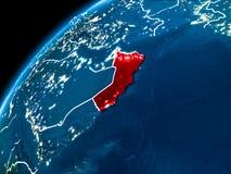 Kaart van Oman bij nacht Royalty-vrije Stock Afbeeldingen