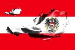 Kaart van Oostenrijk met nationale vlag Stock Foto's
