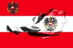 Kaart van Oostenrijk met nationale vlag Royalty-vrije Stock Fotografie