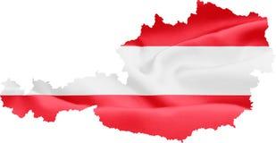 Kaart van Oostenrijk met vlag stock illustratie