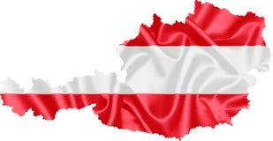 Kaart van Oostenrijk met vlag vector illustratie