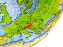 Kaart van Oostenrijk ter wereld Stock Foto