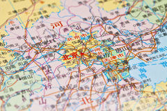 Kaart van Peking, China. Stock Foto