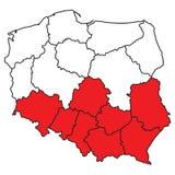 Kaart van Polen Royalty-vrije Stock Afbeelding