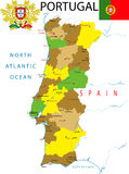 Kaart van Portugal. Stock Fotografie