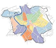 Kaart van Rome met de districten Royalty-vrije Stock Foto's