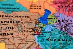 Kaart van Rwanda Stock Afbeeldingen