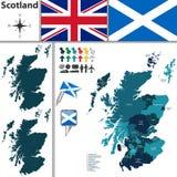Kaart van Schotland met Onderverdelingen Stock Foto's