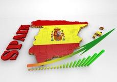 Kaart van Spanje met vlag Royalty-vrije Stock Foto