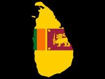 Kaart van Sri Lanka Stock Afbeelding