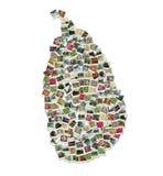 Kaart van Sri Lanka - collage die van reisfoto's wordt gemaakt Royalty-vrije Stock Foto's