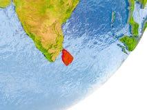 Kaart van Sri Lanka ter wereld Royalty-vrije Stock Afbeelding