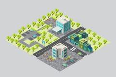 Kaart van stadsbureaus en winkels in isometrisch Stock Fotografie