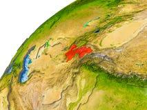Kaart van Tadzjikistan in rood op bol Royalty-vrije Stock Afbeelding
