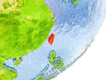 Kaart van Taiwan ter wereld Stock Fotografie