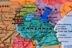 Kaart van Tanzania stock foto's