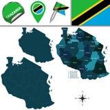 Kaart van Tanzania met Genoemde Gebieden Stock Afbeeldingen