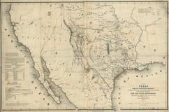 Kaart van Texas en de landen adjacent 1844 stock foto's