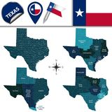Kaart van Texas met Gebieden Stock Fotografie