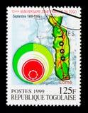 Kaart van Togo, 10de Verjaardag van de Vrije zone serie, circa 1996 Royalty-vrije Stock Fotografie