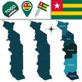 Kaart van Togo met Genoemde Gebieden Stock Foto