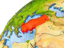 Kaart van Turkije in rood op bol Royalty-vrije Stock Afbeelding