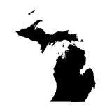 Kaart van U S staat Michigan stock fotografie