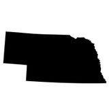 Kaart van U S staat Nebraska Stock Foto's