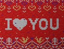 Kaart van Valentijnskaartendag met gebreide textuur Stock Afbeelding