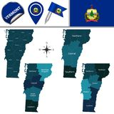 Kaart van Vermont met Gebieden Royalty-vrije Stock Foto's