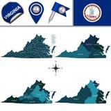 Kaart van Virginia met Gebieden Royalty-vrije Stock Afbeeldingen