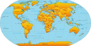 Kaart van wereld Stock Afbeeldingen