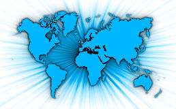 Kaart van wereld met starburst op achtergrond royalty-vrije illustratie