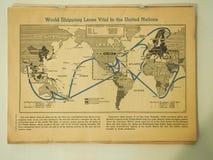 Kaart van Wereld Verschepende Stegen Essentieel voor de V.N. in 1943 royalty-vrije stock afbeeldingen