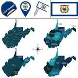 Kaart van West-Virginia met Gebieden Royalty-vrije Stock Afbeeldingen