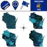 Kaart van Wisconsin met Gebieden Stock Foto