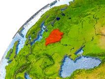 Kaart van Wit-Rusland in rood op bol Stock Afbeelding