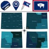 Kaart van Wyoming met Gebieden Stock Fotografie
