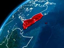 Kaart van Yemen bij nacht Stock Fotografie